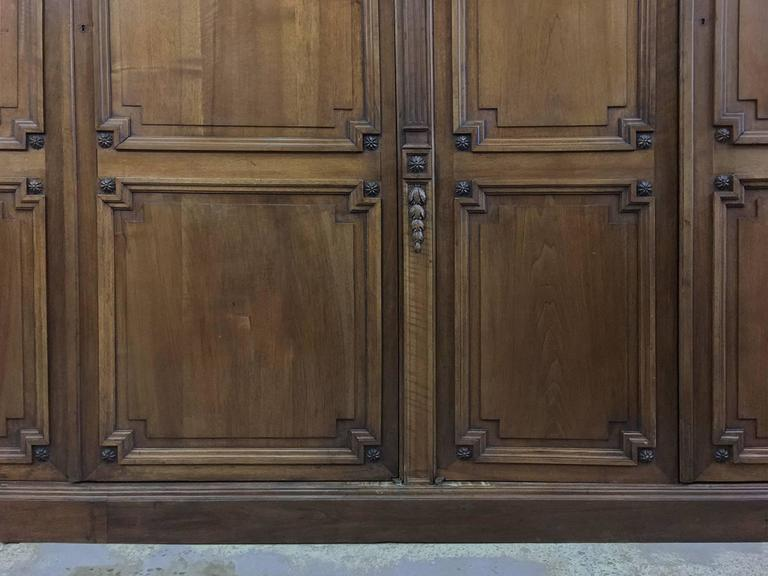 Grand 19th Century French Neoclassical Walnut Six-Door Armoire For Sale 4