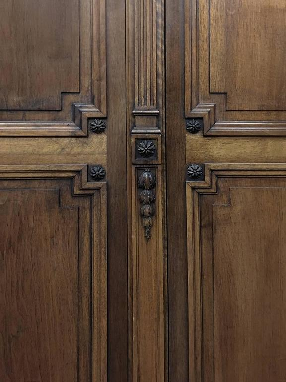 Grand 19th Century French Neoclassical Walnut Six-Door Armoire For Sale 3