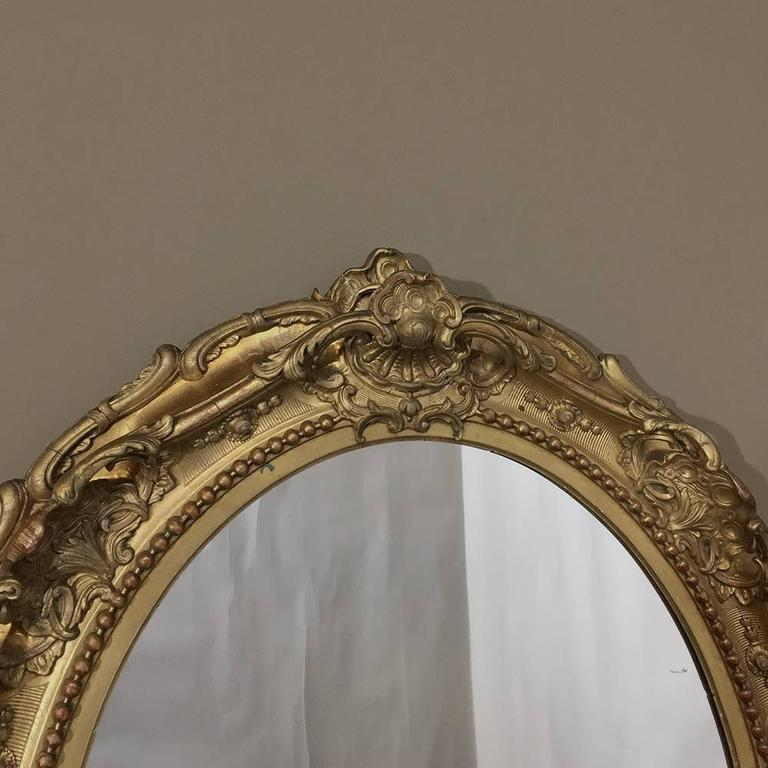 19th century gilded baroque oval mirror for sale at 1stdibs for Gilded baroque mirror