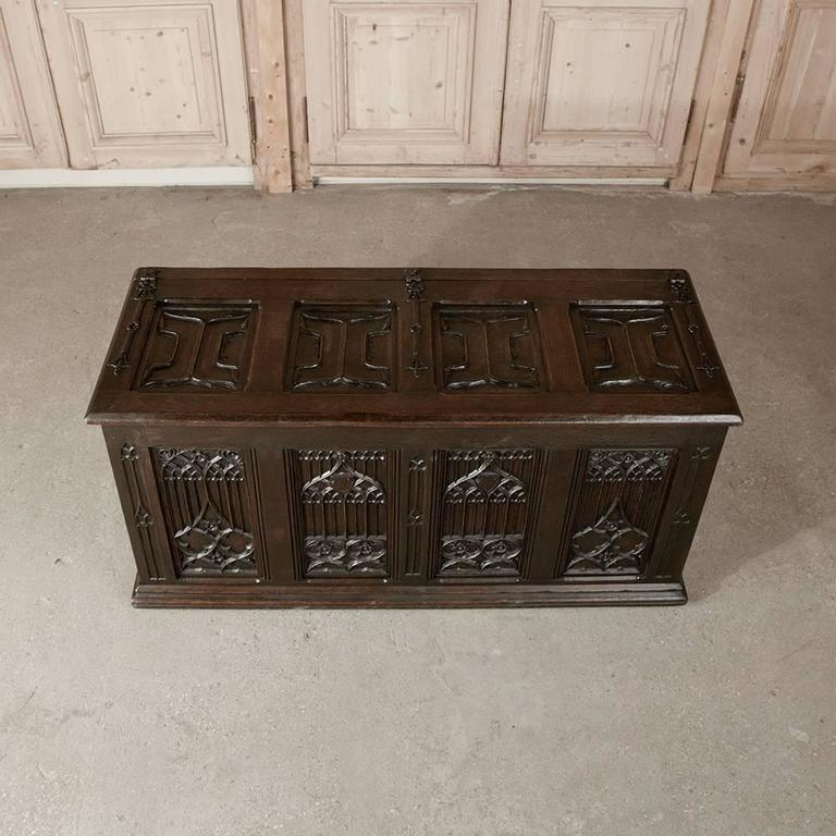 Hand-Carved 19th Century French Gothic Revival Hand Carved Oak Trunk For Sale