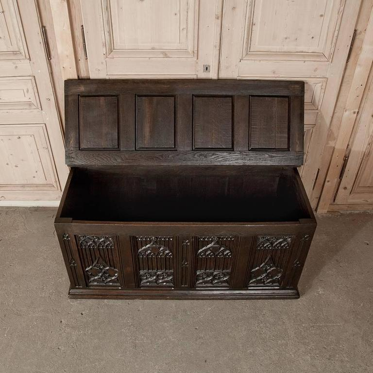 Late 19th Century 19th Century French Gothic Revival Hand Carved Oak Trunk For Sale