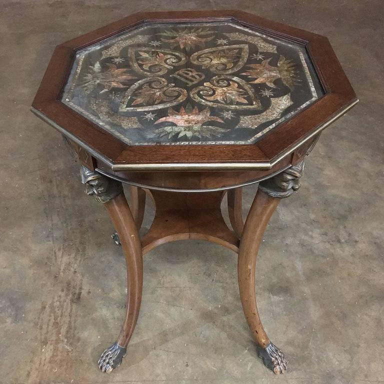 19th Century Octagonal End Table With Postage Stamp