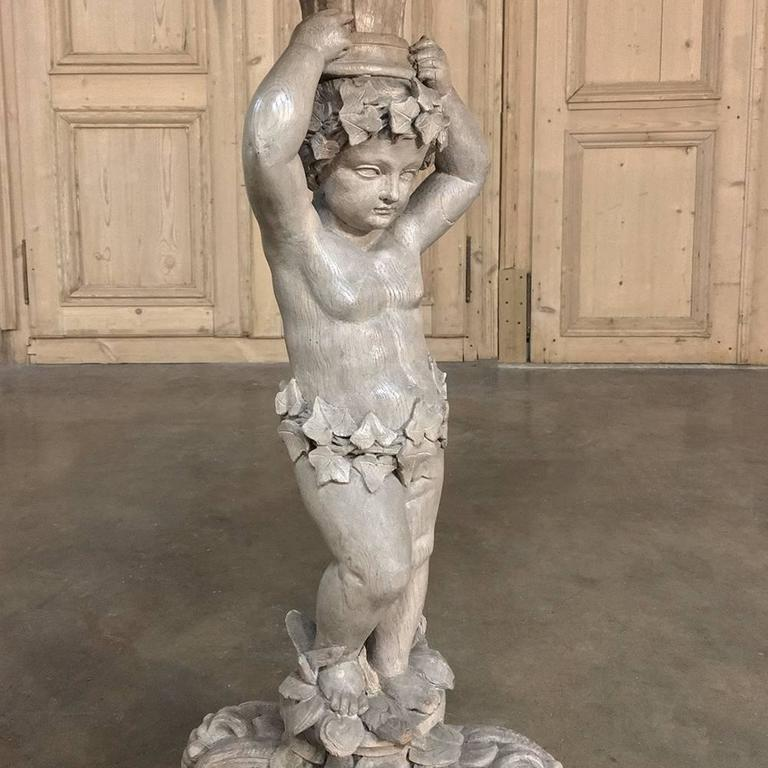 Baroque 19th Century Carved Angel Painted Lamp Table, Pedestal For Sale