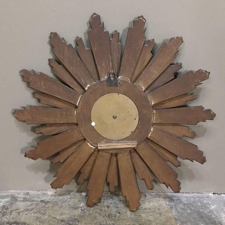 Mid Century Carved Wood French Gilt Wood Sunburst Wall