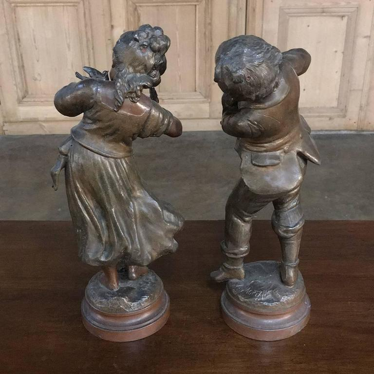 Pair of 19th Century Romantic Belle Epoque Spelter Statues by Auguste Moreau For Sale 3