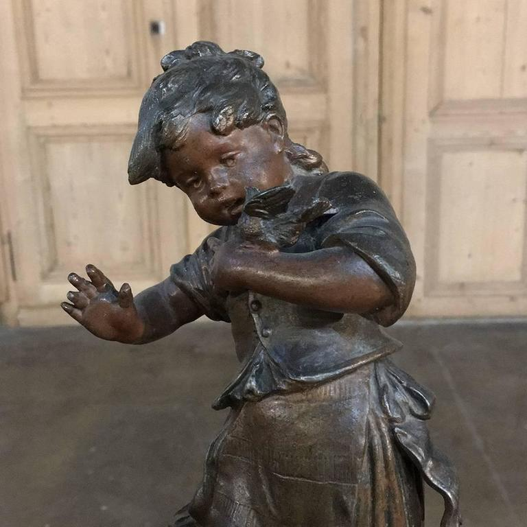 French Pair of 19th Century Romantic Belle Epoque Spelter Statues by Auguste Moreau For Sale