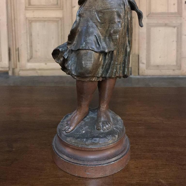 Cast Pair of 19th Century Romantic Belle Epoque Spelter Statues by Auguste Moreau For Sale