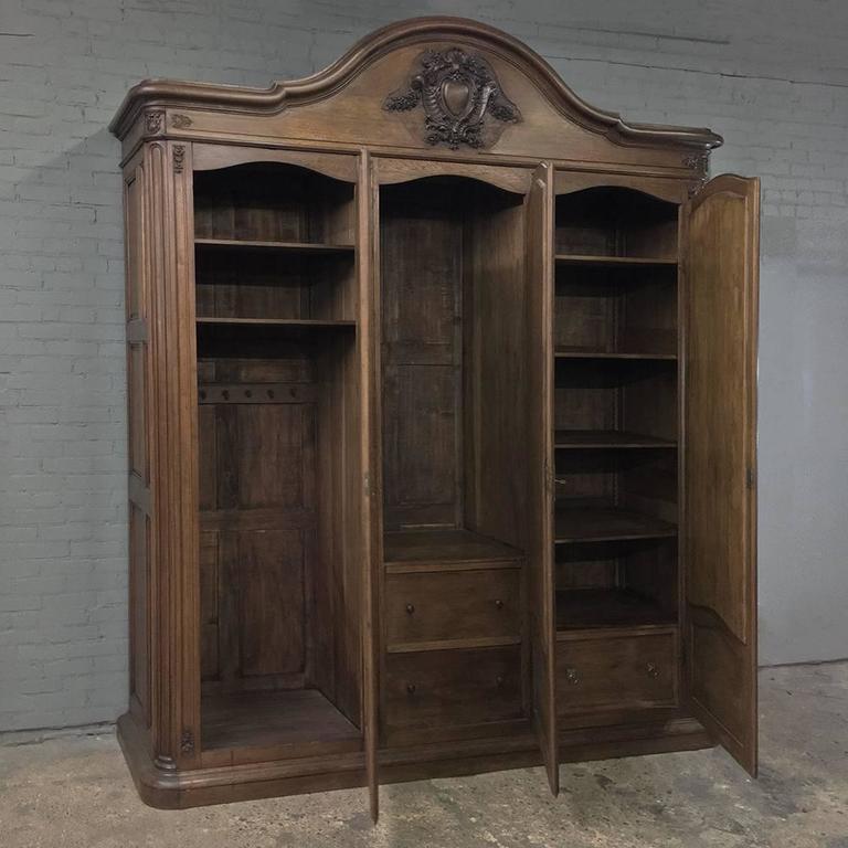 19th century french napoleon iii period grand oak armoire. Black Bedroom Furniture Sets. Home Design Ideas