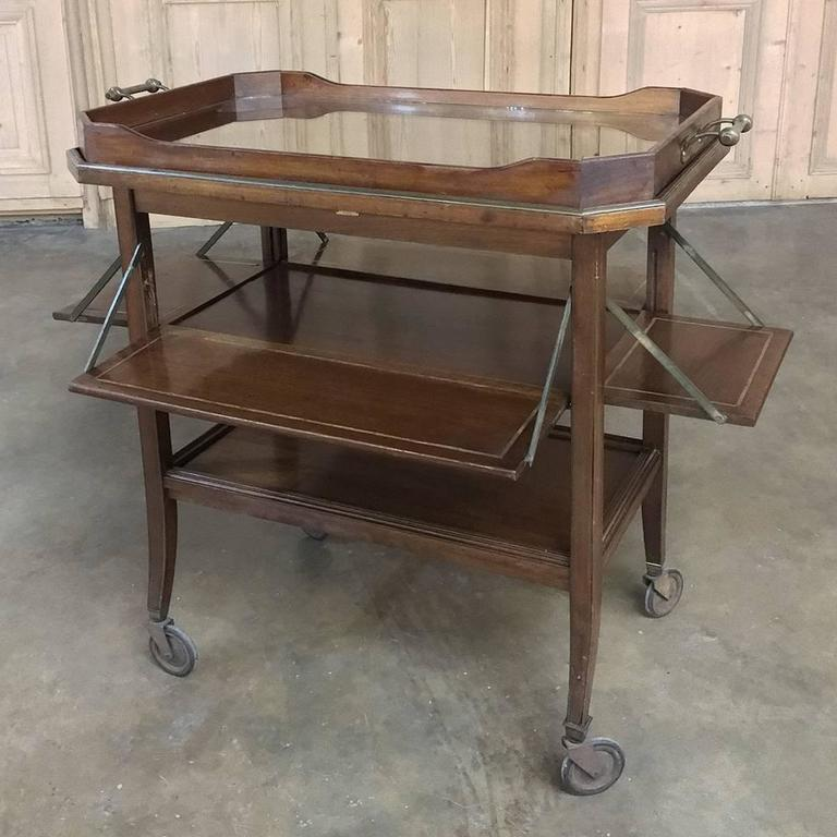 Antique Tea Serving Or Bar Cart With Removable Gl Tray Was Handcrafted From Fine Imported Mahogany