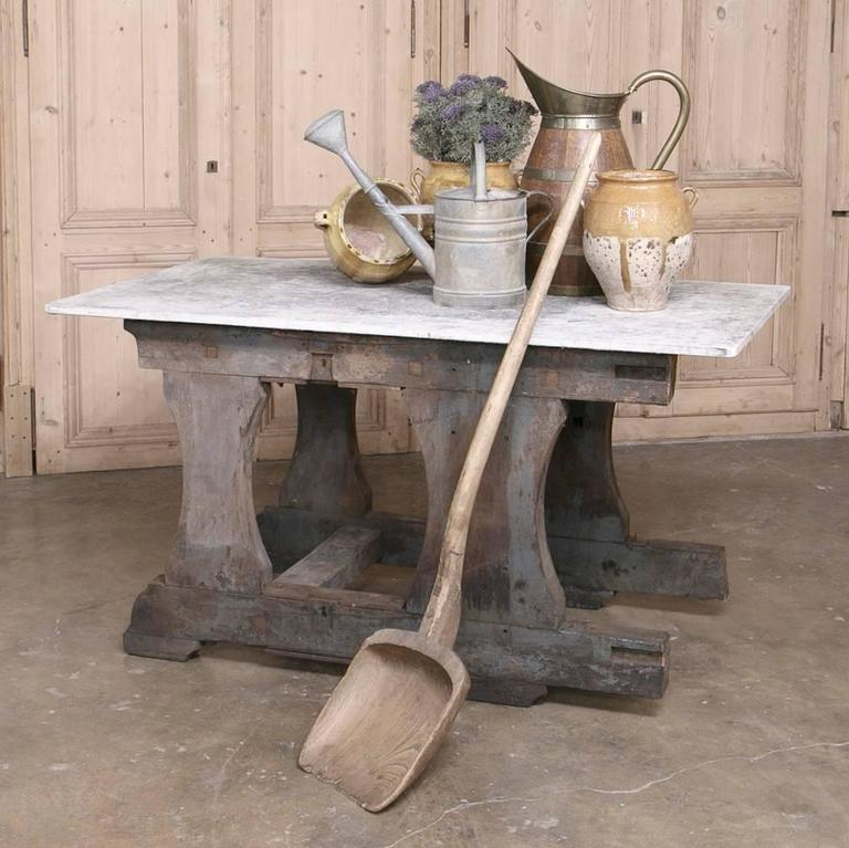 Rustic Industrial authentic work table with composite concrete top was salvaged from a factory in Liege, and was built so strong, it would literally hold up part of your house! An excellent handsome choice for a solarium or covered outdoor