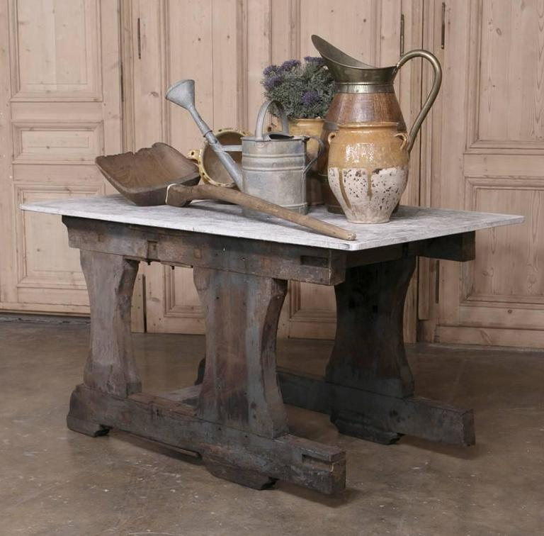 Hand-Crafted Vintage Rustic Industrial Work Table or Island with Concrete Top For Sale