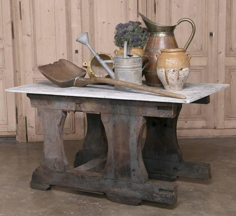 Vintage Rustic Industrial Work Table or Island with Concrete Top In Good Condition For Sale In Dallas, TX