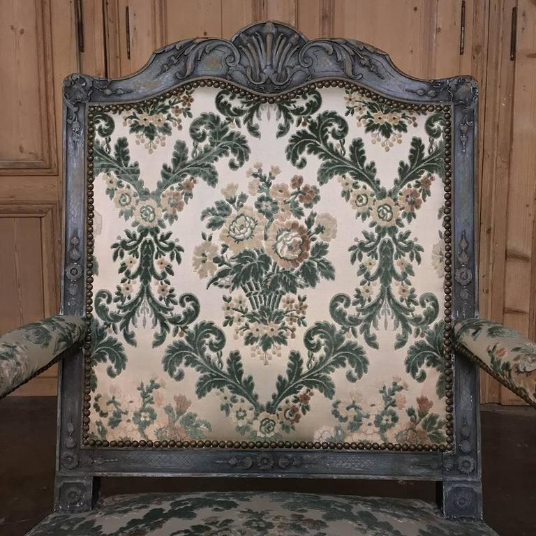 Pair of 19th Century French Louis XIV Painted Armchairs For Sale 1