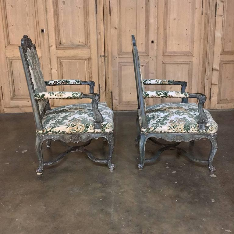 Hand-Carved Pair of 19th Century French Louis XIV Painted Armchairs For Sale