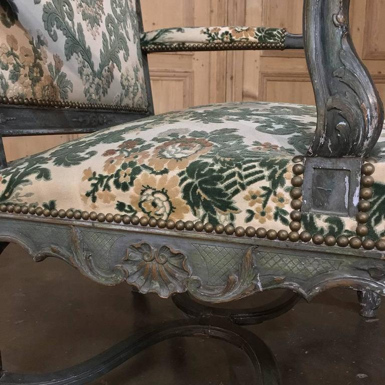 Pair of 19th Century French Louis XIV Painted Armchairs For Sale 3