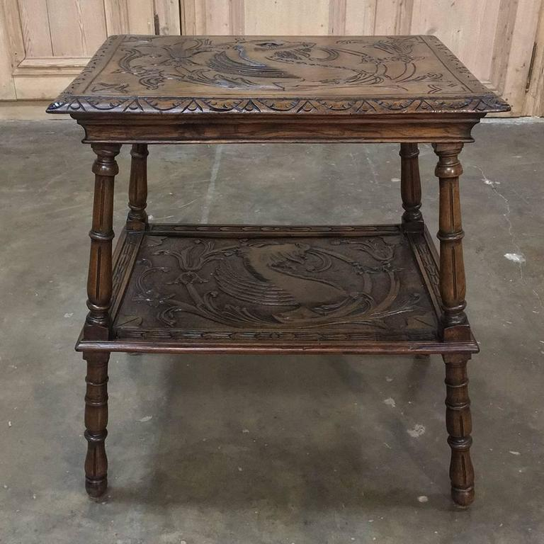 19th century italian renaissance walnut end table for sale for Table th visible