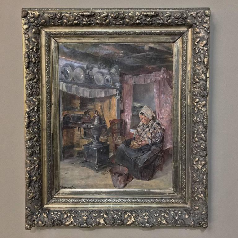 19th century framed oil painting on canvas represents a movement during the 19th century where interior scenes of simple homes and rural cottages became popular on the arts scene. This wonderful painting depicts an elderly woman in the wintertime