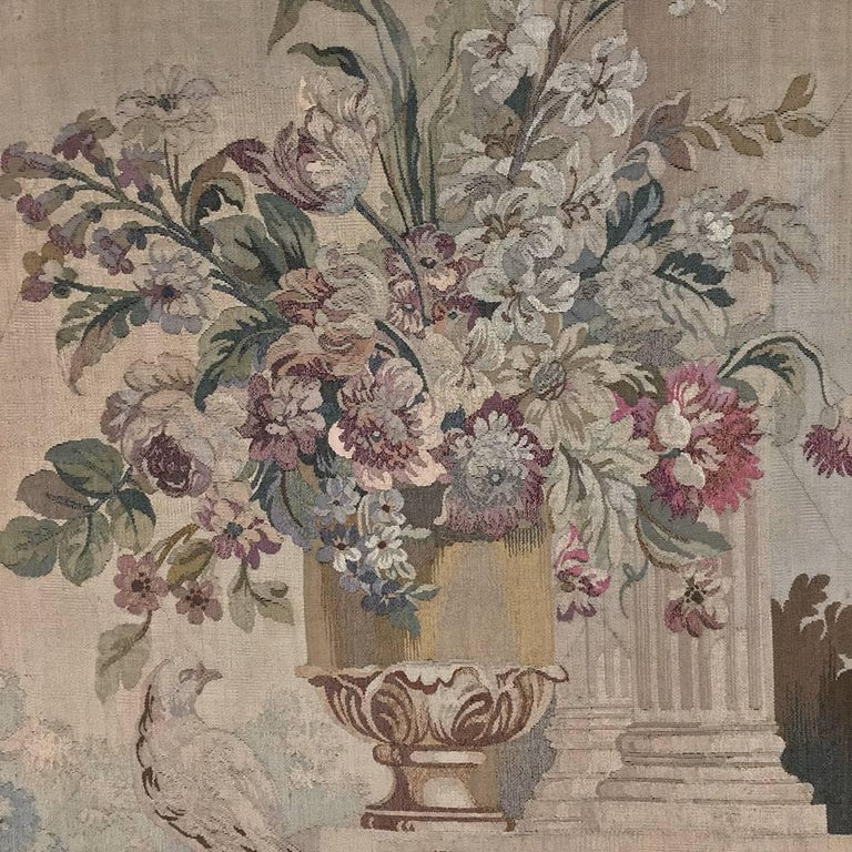 Hand-Carved 19th Century Grand Trumeau with Aubusson Tapestry For Sale