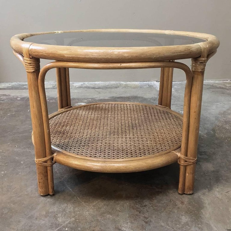 Wicker Coffee Table With Glass Top: Mid-Century Rattan Coffee Table With Glass Top For Sale At