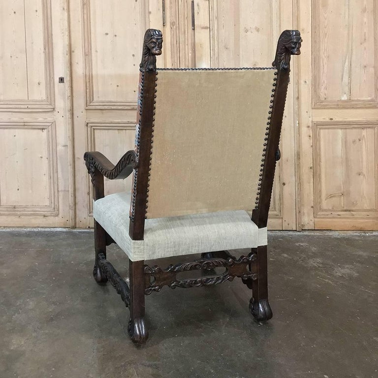 19th Century French Hand Carved Armchair with Original Tapestry For Sale 2