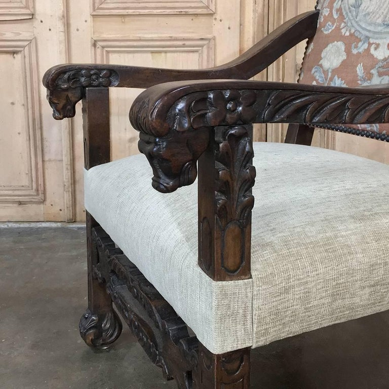 Hand-Carved 19th Century French Hand Carved Armchair with Original Tapestry For Sale
