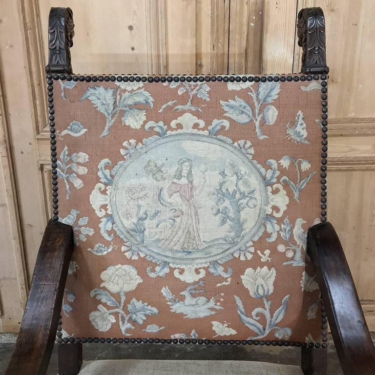 Renaissance Revival 19th Century French Hand Carved Armchair with Original Tapestry For Sale