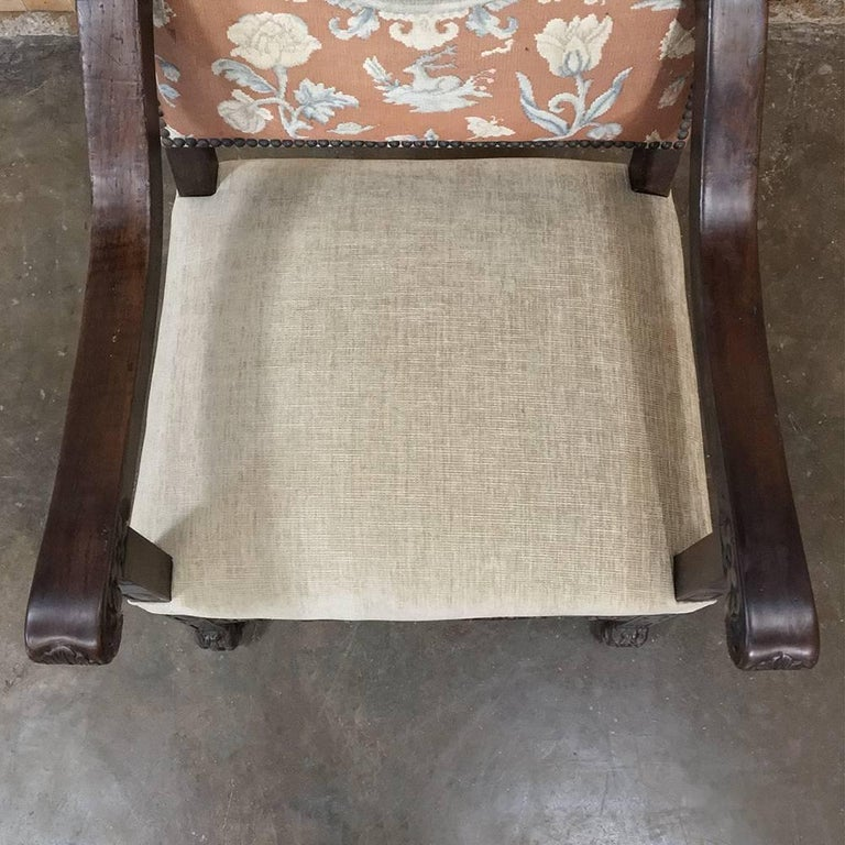 19th Century French Hand Carved Armchair with Original Tapestry For Sale 1