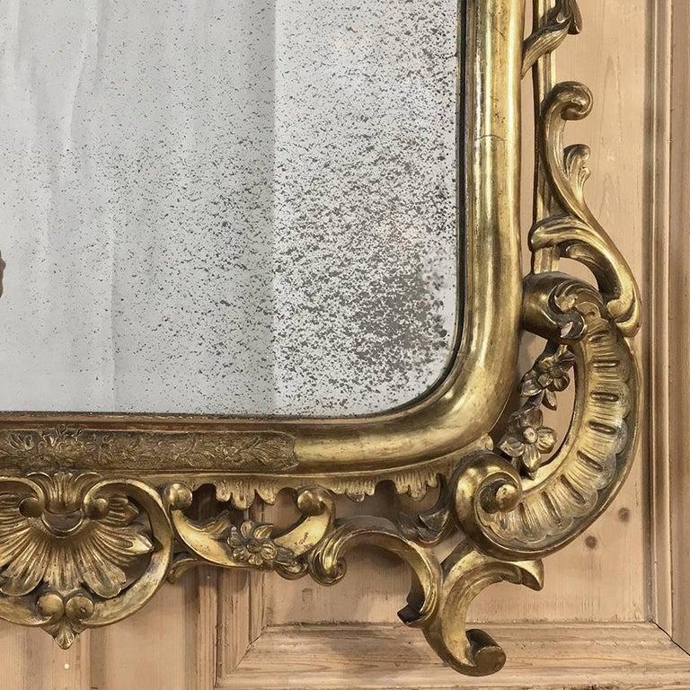 Mid 19th century italian baroque giltwood mirror for sale for Italian baroque mirror