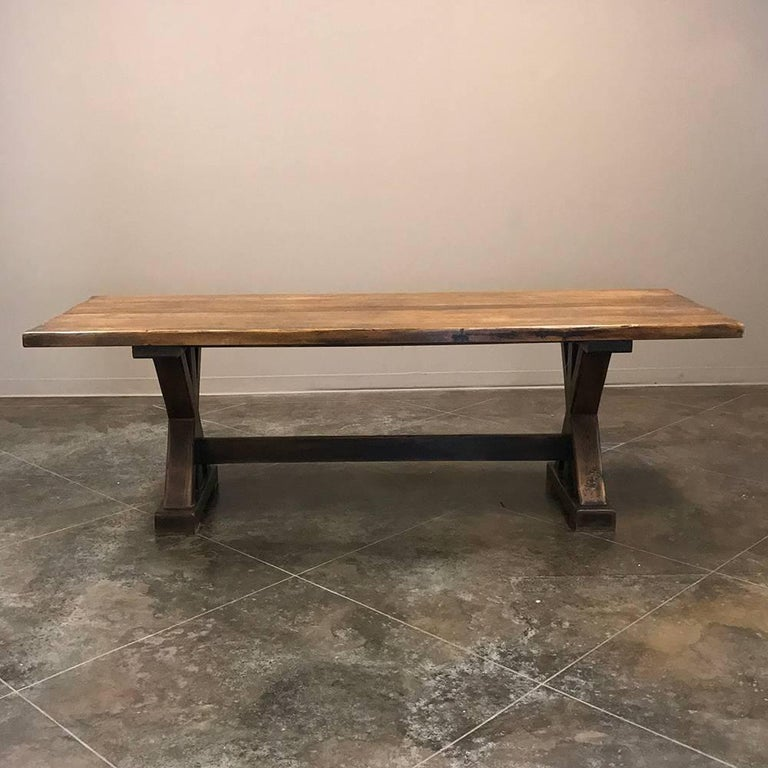 Antique rustic country french trestle table for sale at 1stdibs - Antique french dining tables ...