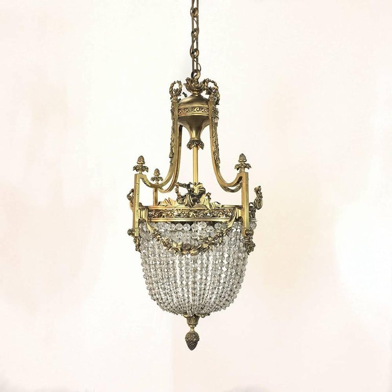 Antique French Louis Xvi Style Sack Of Pearls Bronze