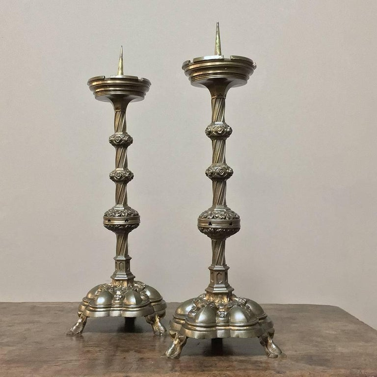 Pair of 19th Century, French Gothic Brass Candlesticks For Sale 6