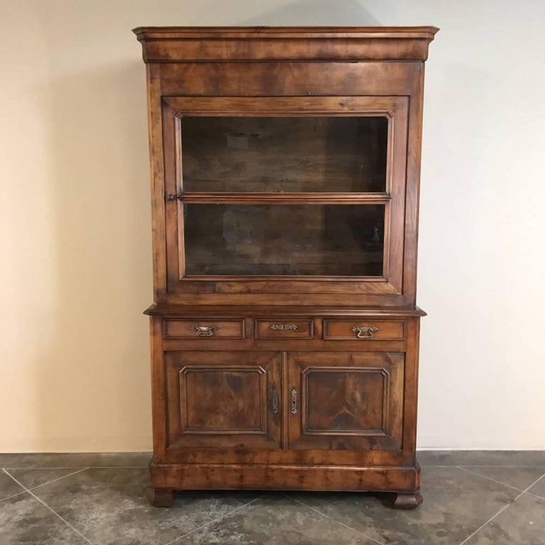 Hand-Crafted 19th Century Louis Philippe Fruitwood Bookcase