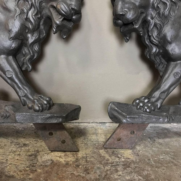 Pair of 19th Century Architectural Cast Iron Lion Statues For Sale 3