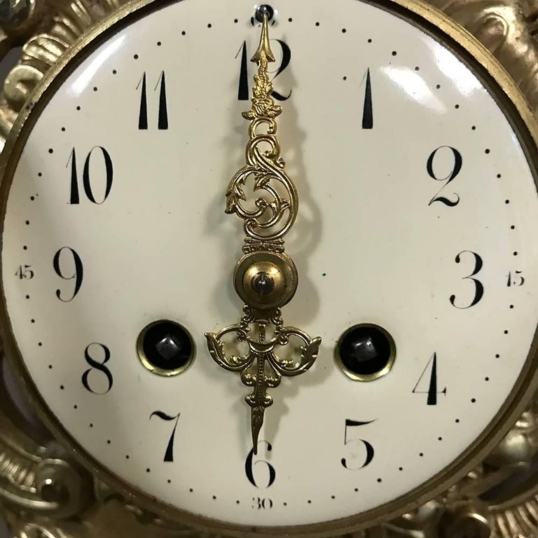 Antique French Louis XV Bronze Wall Clock or Cartel For Sale 4