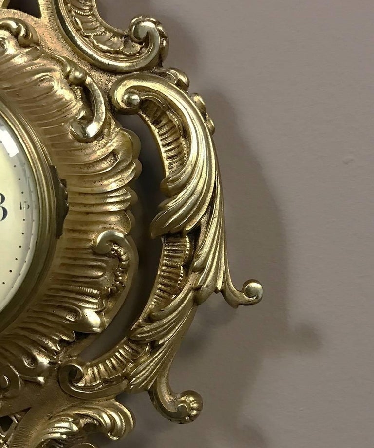 20th Century Antique French Louis XV Bronze Wall Clock or Cartel For Sale