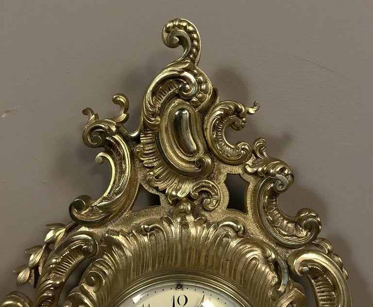 Antique French Louis XV Bronze Wall Clock or Cartel For Sale 2