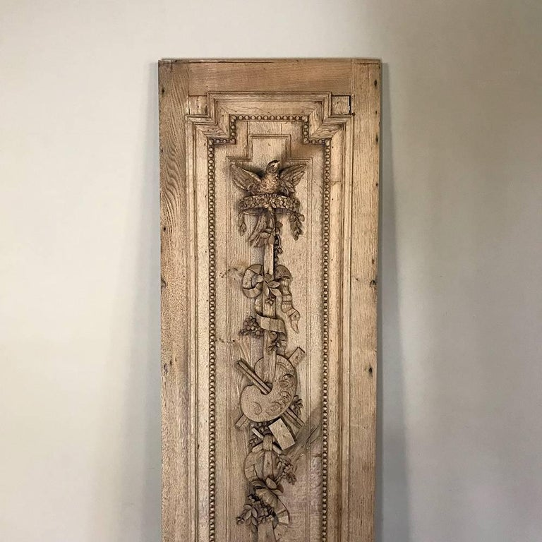 Grand 19th Century French Louis XVI Hand-Carved Oak Panel, over 9 Feet Tall In Good Condition For Sale In Dallas, TX