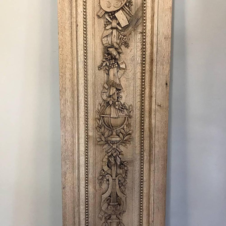 Grand 19th Century French Louis XVI Hand-Carved Oak Panel, over 9 Feet Tall For Sale 1