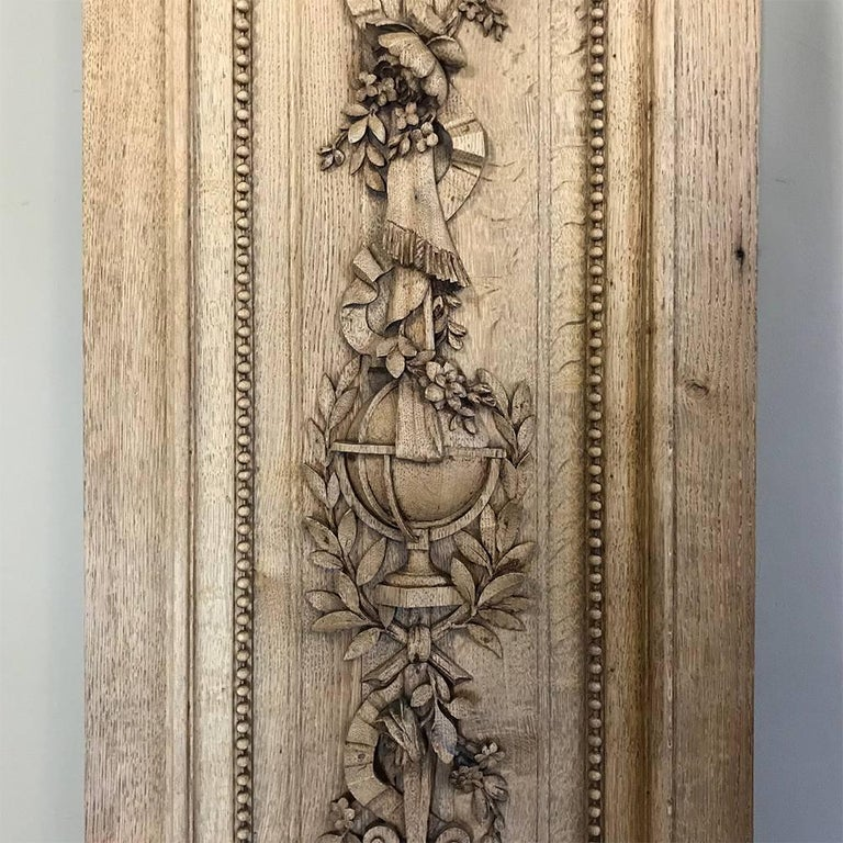 Grand 19th Century French Louis XVI Hand-Carved Oak Panel, over 9 Feet Tall For Sale 5