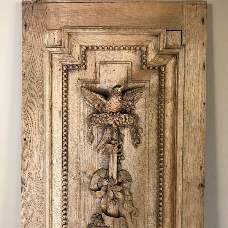 Grand 19th Century French Louis XVI Hand-Carved Oak Panel, over 9 Feet Tall For Sale 3