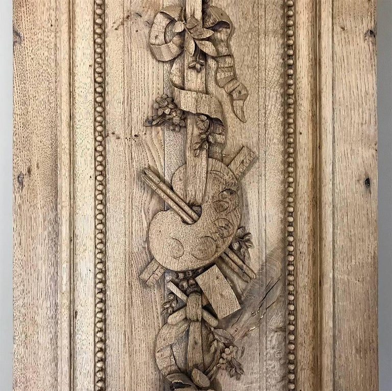 Grand 19th Century French Louis XVI Hand-Carved Oak Panel, over 9 Feet Tall For Sale 4