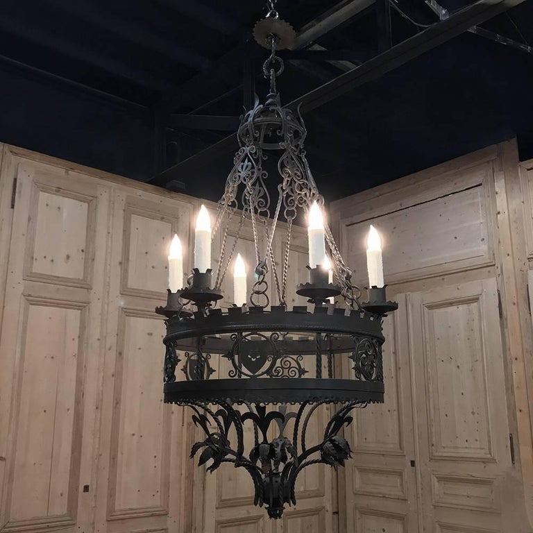 Antique Italian Wrought Iron Chandelier For Sale 4