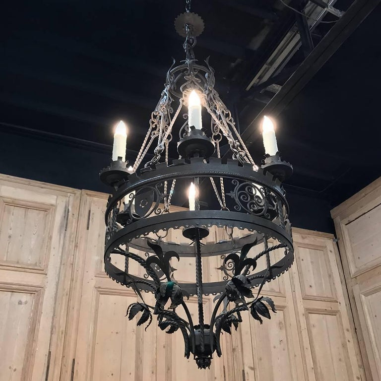 Country Antique Italian Wrought Iron Chandelier For Sale
