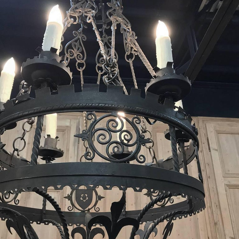 Antique Italian Wrought Iron Chandelier For Sale 1