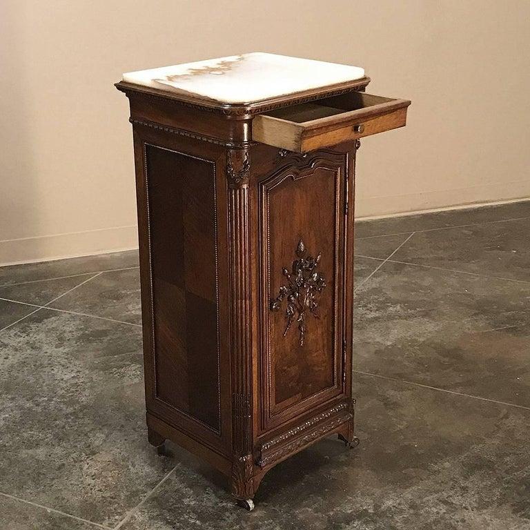 19th Century French Walnut Neoclassical Onyx Top