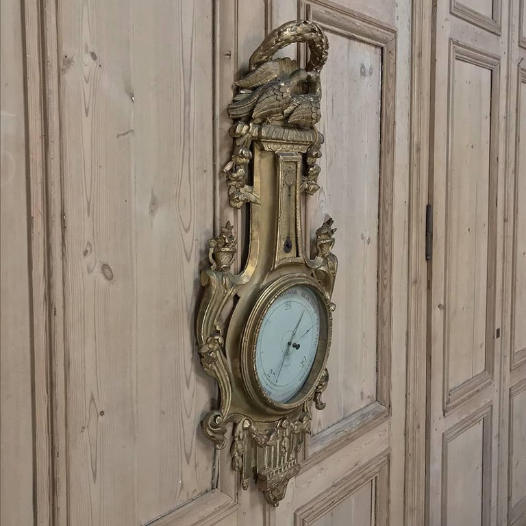 18th Century Giltwood Hand-Carved Barometer - Thermometer For Sale 2