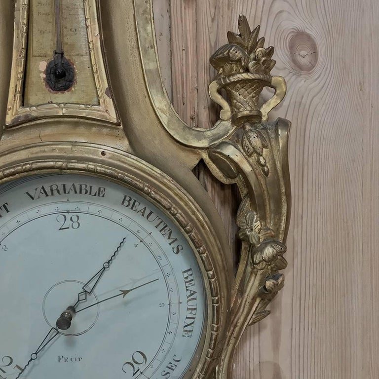 Swiss 18th Century Giltwood Hand-Carved Barometer - Thermometer For Sale