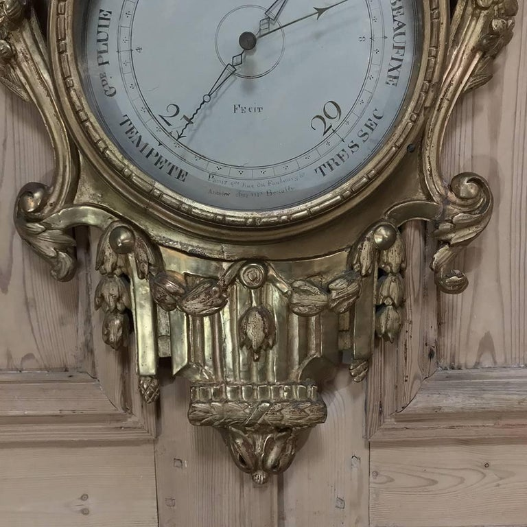 18th Century Giltwood Hand-Carved Barometer - Thermometer For Sale 1
