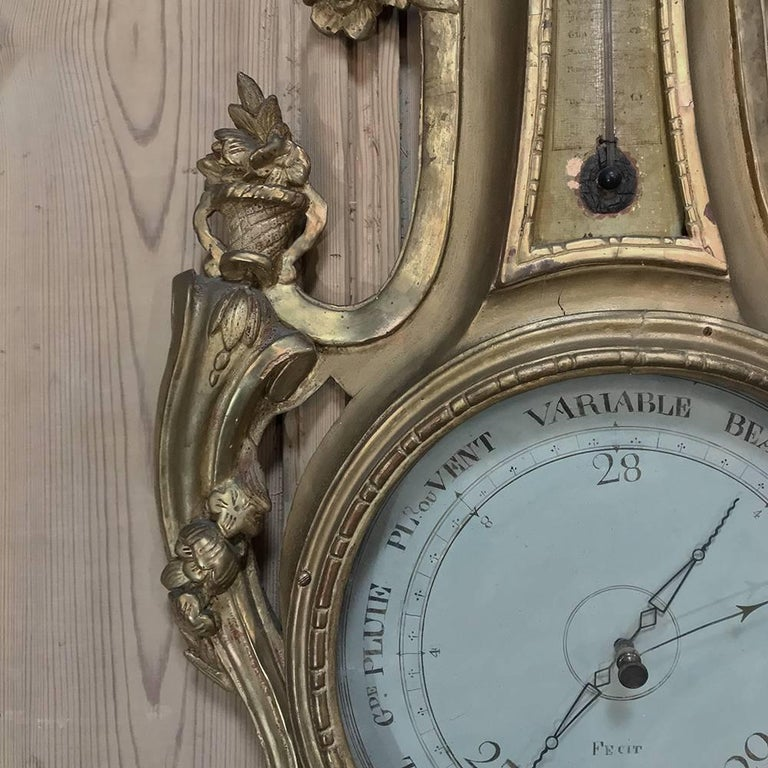 Louis XVI 18th Century Giltwood Hand-Carved Barometer - Thermometer For Sale