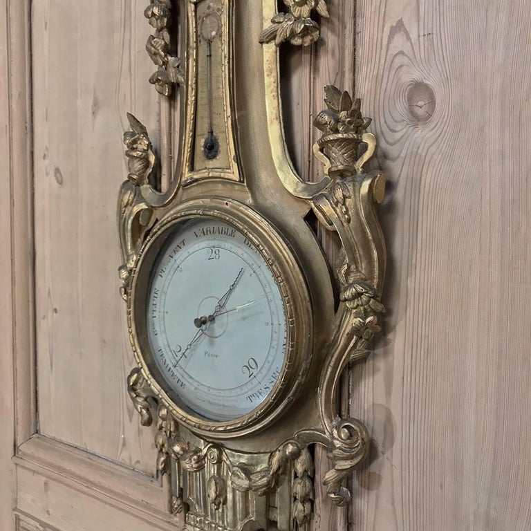 18th Century Giltwood Hand-Carved Barometer - Thermometer For Sale 4